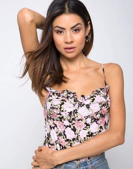 Ivy Hill Bustier Floral Bodysuit in Black - Bodysuit - Motel - BKLYN Bodies