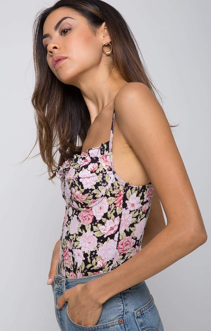 Ivy Hill Bustier Floral Bodysuit in Black-Bodysuit-BKLYN Bodies