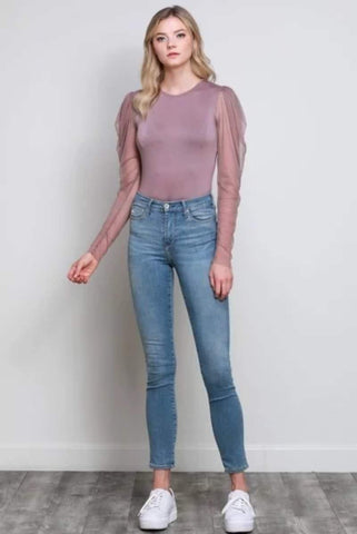 Delilah Ruffle Sleeve Bodysuit in Mauve - Final Sale