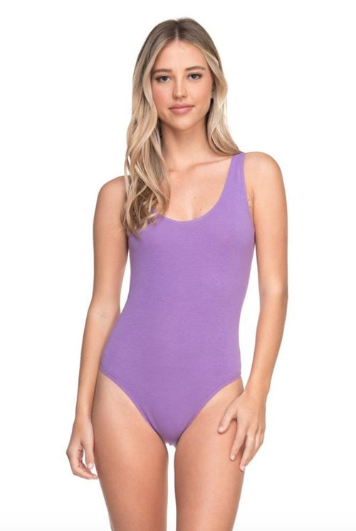 Lavender Fields Scoop Back Purple Bodysuit-Bodysuit-BKLYN Bodies