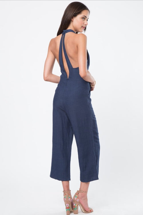 Lisa Faux Choker Culotte Jumpsuit in Navy - Final Sale - Jumpsuit - Very J - BKLYN Bodies