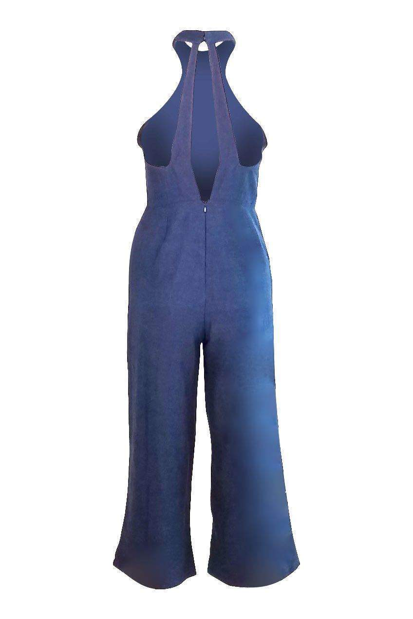 Lisa Faux Choker Culotte Jumpsuit in Navy - Final Sale-Jumpsuit-BKLYN Bodies