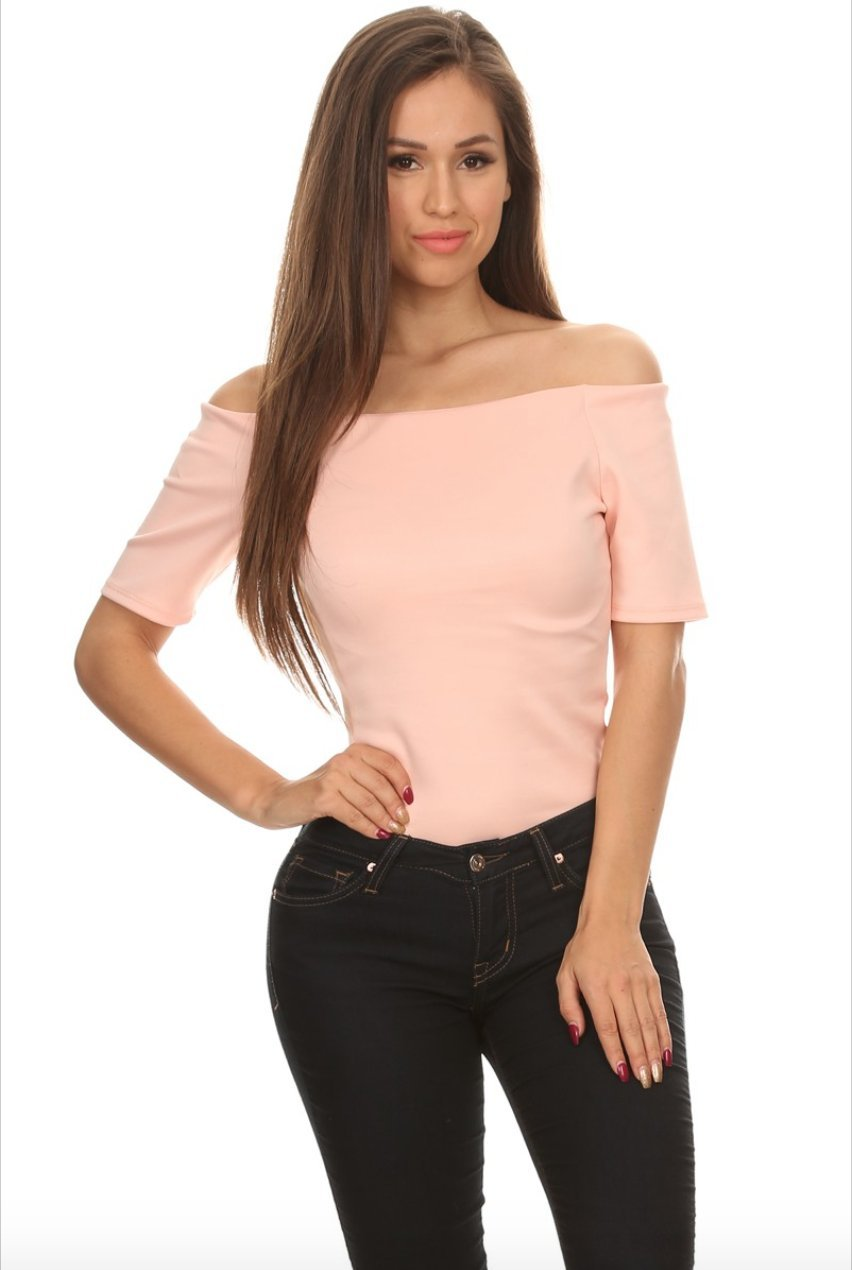 Liz Off the Shoulder Bodysuit in Blush - Bodysuit - BKLYN Bodies - BKLYN Bodies