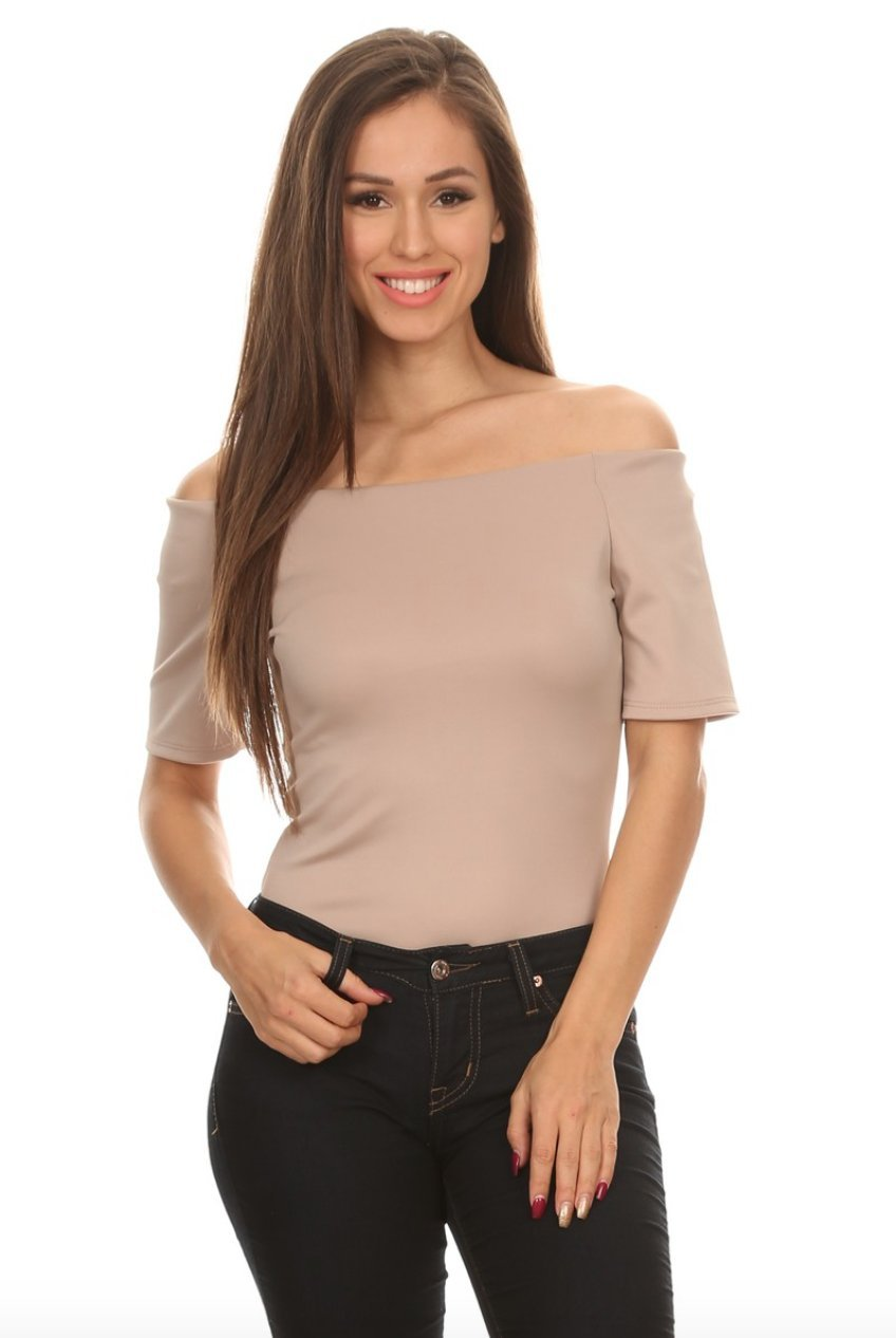 Liz Off the Shoulder Bodysuit in Cocoa - Bodysuit - BLVD - BKLYN Bodies