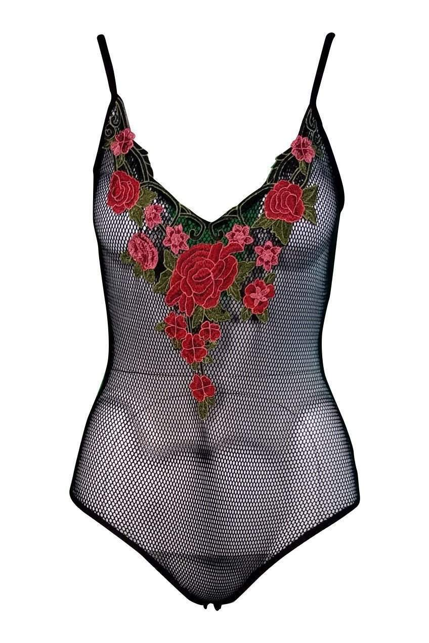Lolita Floral Mesh Bodysuit in Black - Final Sale-Bodysuit-BKLYN Bodies