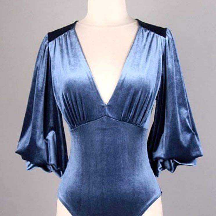 Luna Bishop Sleeve Bodysuit in Blue Velvet - Bodysuit - Bo Bel - BKLYN Bodies