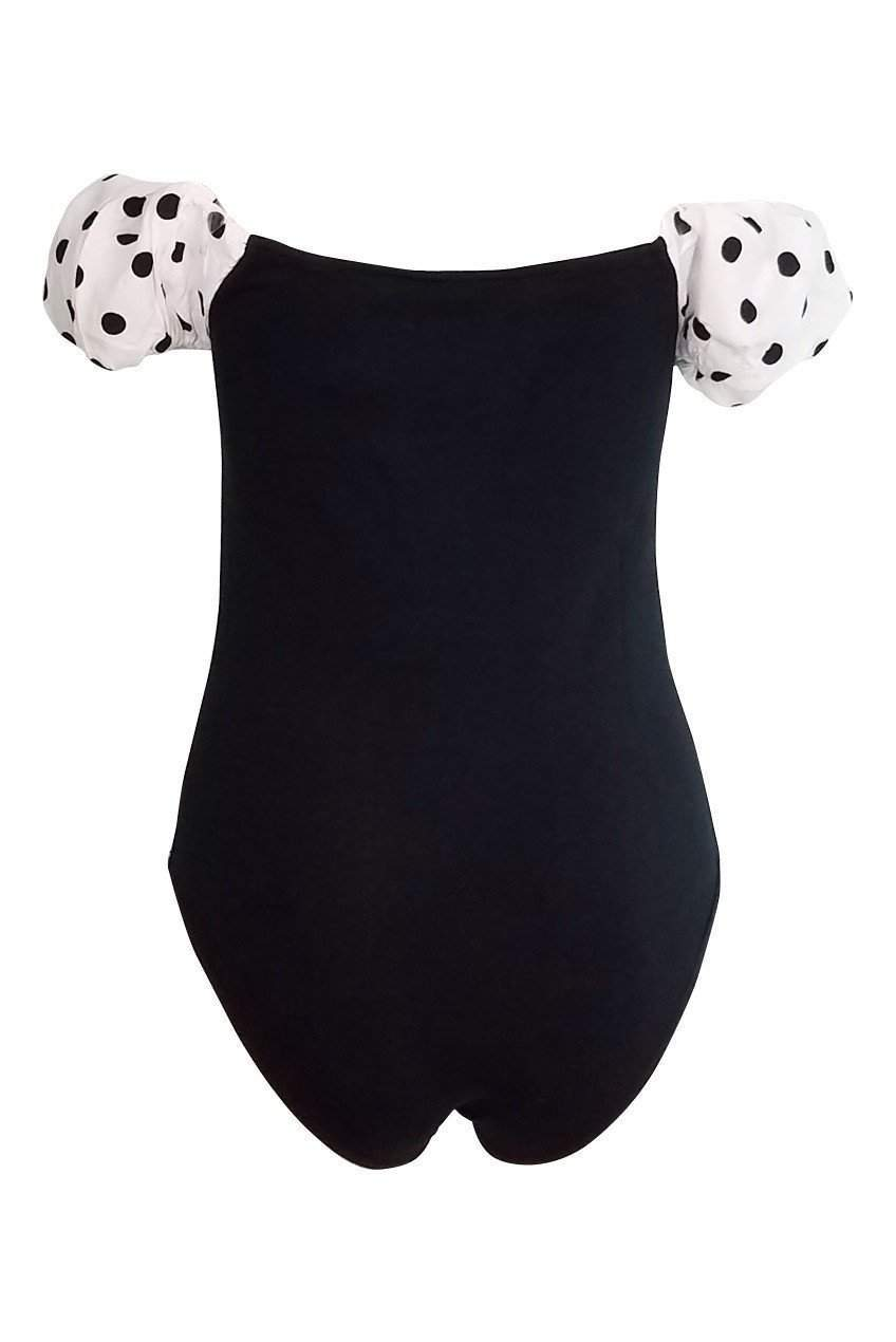 Maria Puff Sleeve Polka Dot Bodysuit in Black - Bodysuit - Motel - BKLYN Bodies