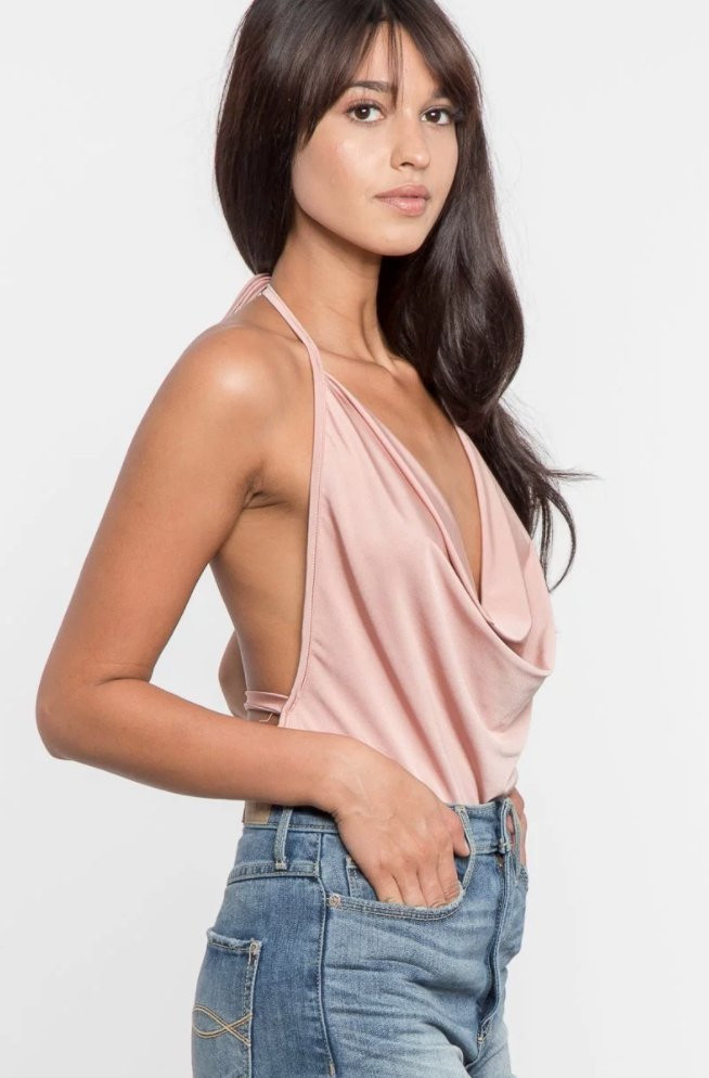 Mermaid Cowl Neck Satin Bodysuit in Pink-Bodysuit-BKLYN Bodies