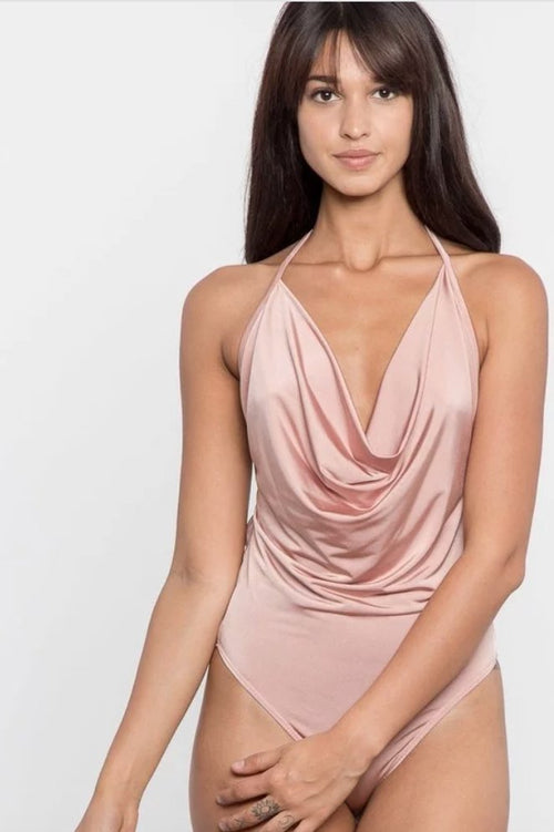 Mermaid Cowl Neck Satin Bodysuit in Pink - Bodysuit - Fashion Vitamin - BKLYN Bodies