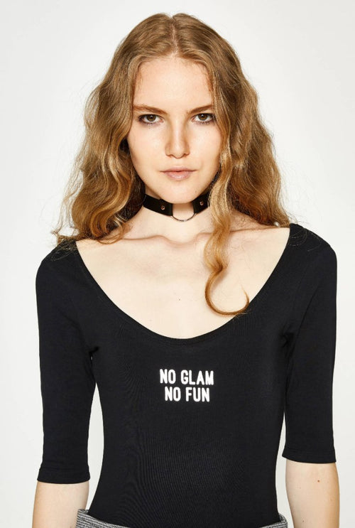 No Glam No Fun Slogan Bodysuit in Black - Bodysuit - BKLYN Bodies - BKLYN Bodies