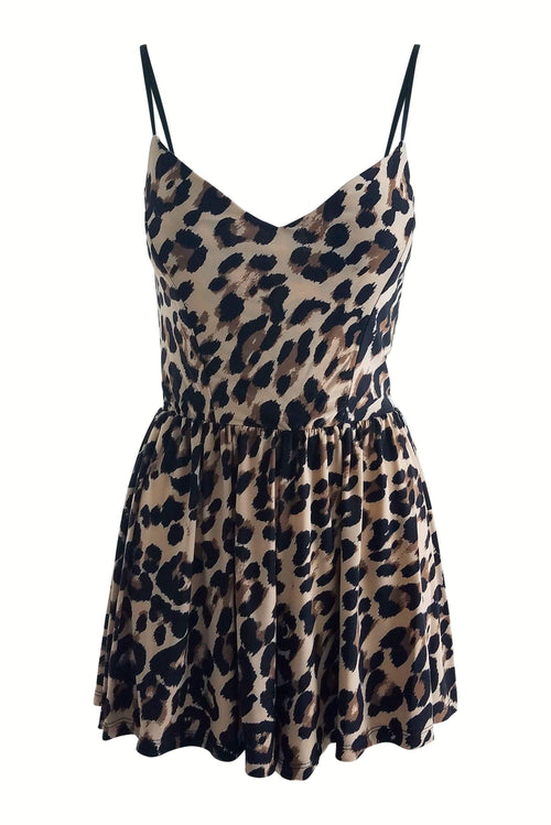 On the Prowl Romper Playsuit in Leopard - Final Sale-Playsuit-BKLYN Bodies