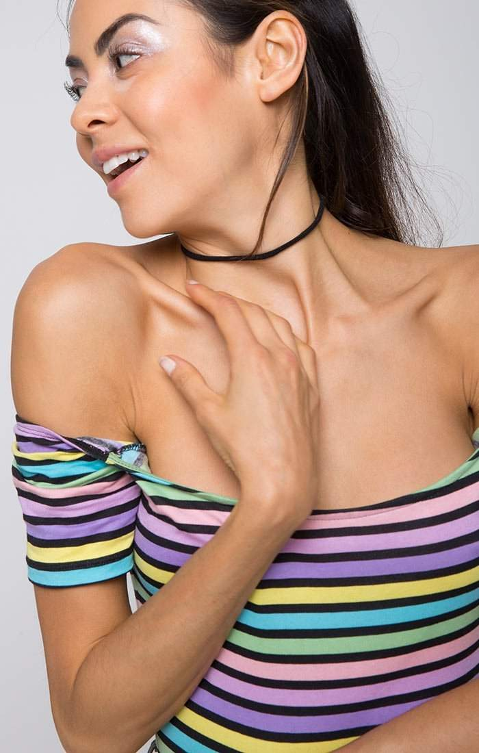 Pastel Poppin' Striped Off the Shoulder Bodysuit - Bodysuit - Motel - BKLYN Bodies