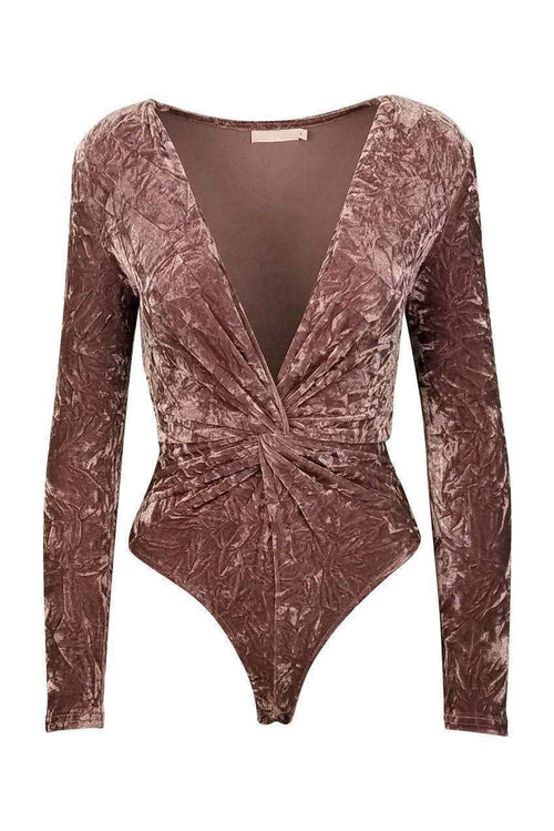 Princess Velvet Plunging V-Neck Bodysuit in Mauve-Bodysuit-BKLYN Bodies