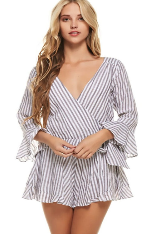 Roberta Flounce Romper Playsuit in Navy Stripe - Playsuit - The Clothing Company - BKLYN Bodies