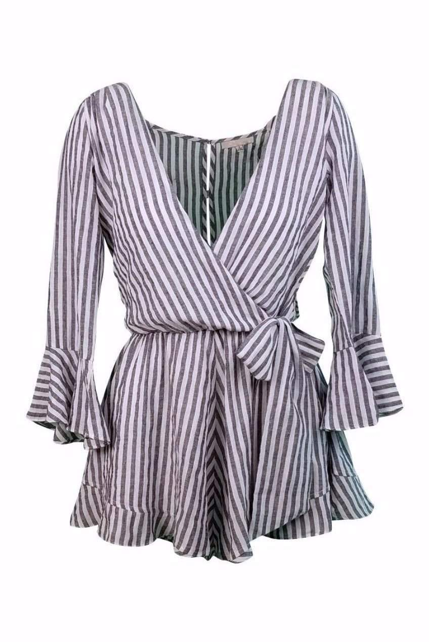 Roberta Flounce Romper Playsuit in Navy Stripe-Playsuit-BKLYN Bodies