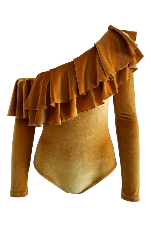 Royalty Velvet Ruffle Bodysuit in Gold - Final Sale - Bodysuit - BKLYN Bodies - BKLYN Bodies