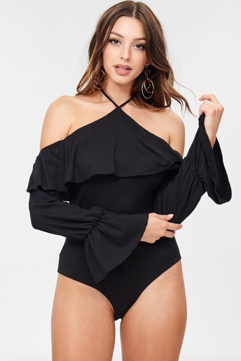 Rumba Cold Shoulder Ruffle Bodysuit in Black - Bodysuit - Day G - BKLYN Bodies