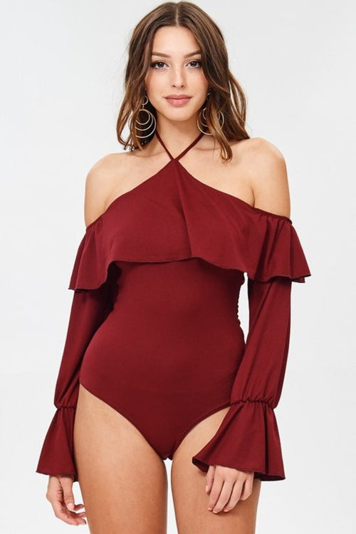 Rumba Cold Shoulder Ruffle Bodysuit in Burgundy - Bodysuit - Day G - BKLYN Bodies