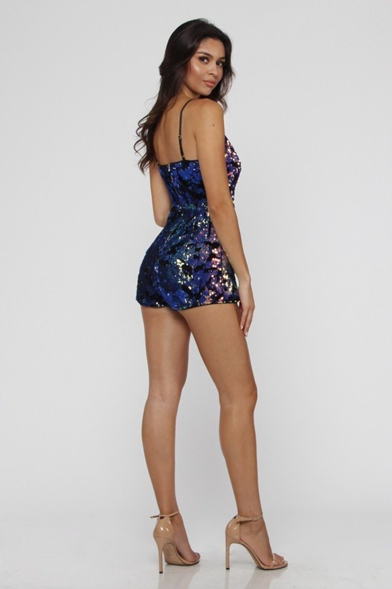 566b355534a Supernova Holographic Sequin Romper Playsuit in Purple - Playsuit - Entry -  BKLYN Bodies
