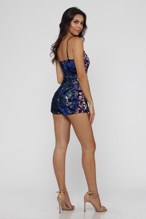 Supernova Holographic Sequin Romper Playsuit in Purple-Playsuit-BKLYN Bodies