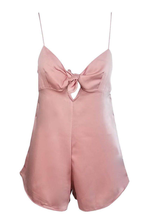 Sweetheart Satin Playsuit in Soft Pink - Playsuit - Motel - BKLYN Bodies