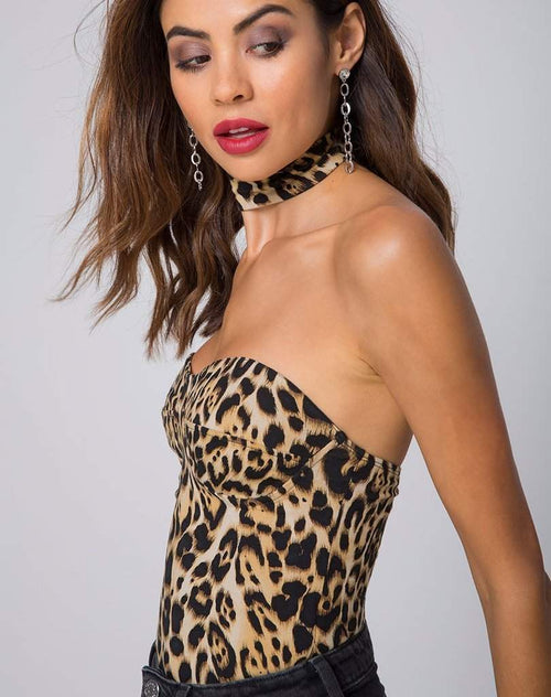 The Hunter Ave Bustier Bodysuit in Leopard-Bodysuit-BKLYN Bodies