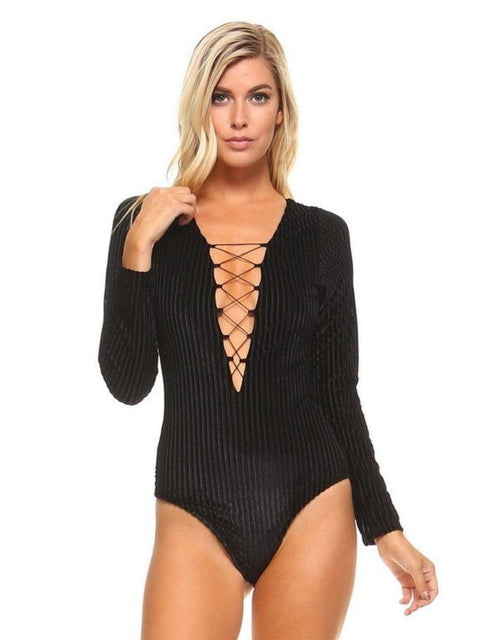 Vanderbilt Lace-Up Corduroy Bodysuit in Black - Bodysuit - The Sang - BKLYN Bodies