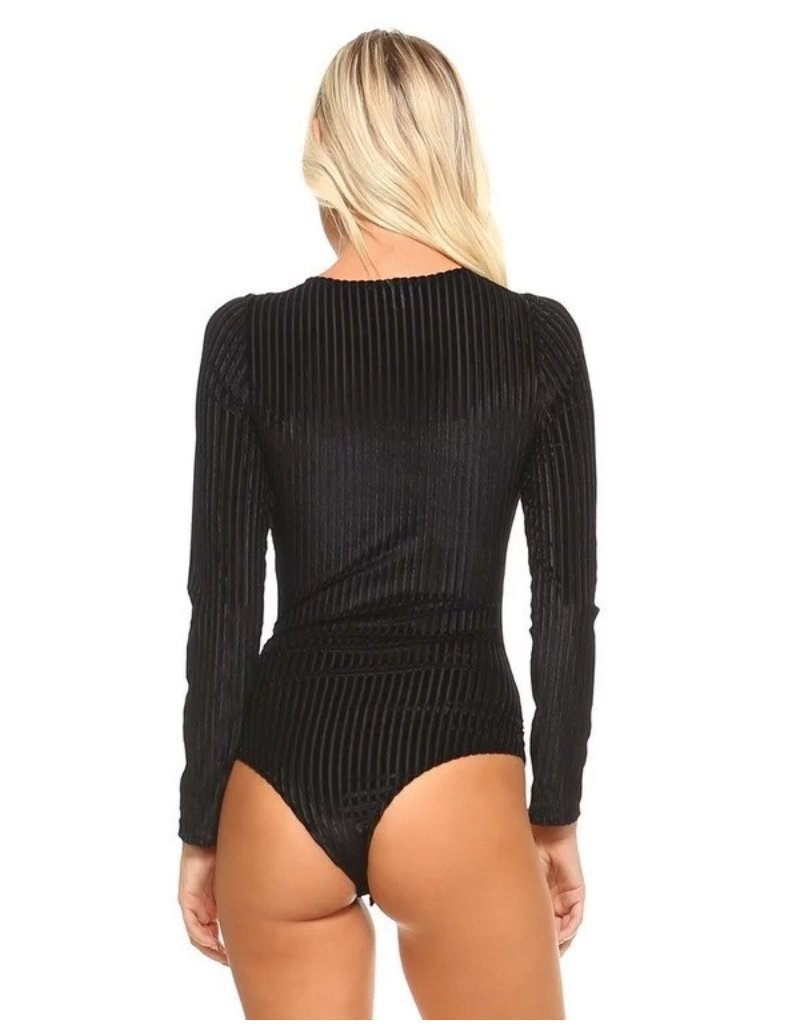 Vanderbilt Lace-Up Corduroy Bodysuit in Black-Bodysuit-BKLYN Bodies