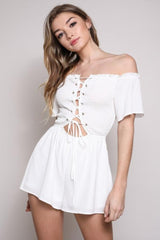Wythe Ave Off the Shoulder White Romper Playsuit - Playsuit - Blue Blush - BKLYN Bodies