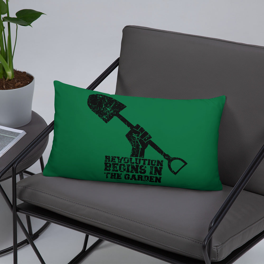 """Revolution Begins in the Garden"" Throw Pillow"
