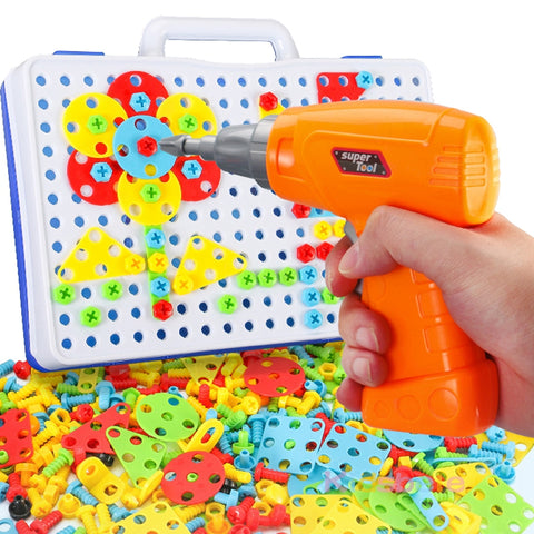 Kids Electric Drill Screwing Educational Puzzle Toys