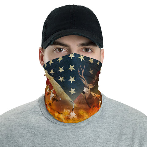Image of American Flag Mule Deer Neck Gaiter