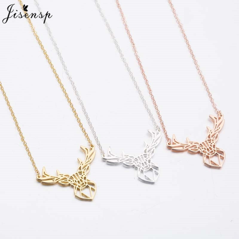Stainless Steel Origami Deer Necklace