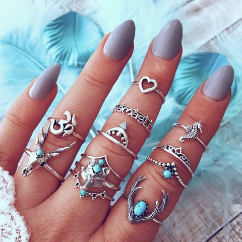 Bohemian Vintage Elk Deer Head Owl Love Heart 3D Rings Set For Women