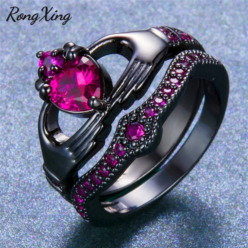 Pink Zircon Heart Claddagh Ring