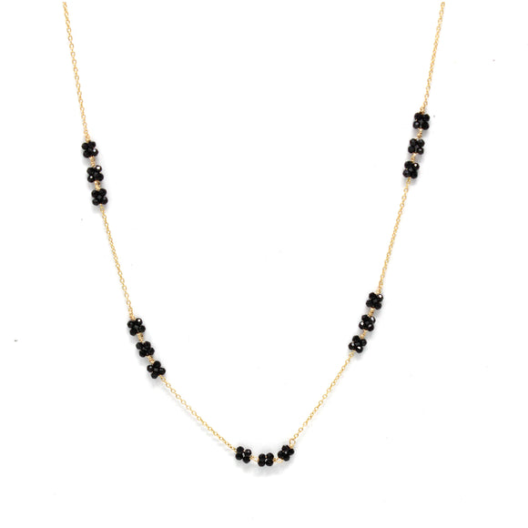 Triple Blossom Necklace: Black Spinel