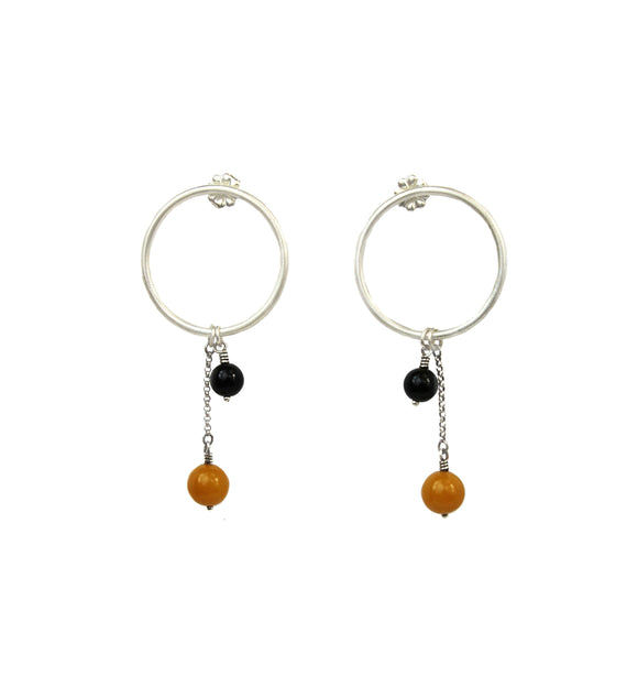 Hoop & Ball Post Earrings