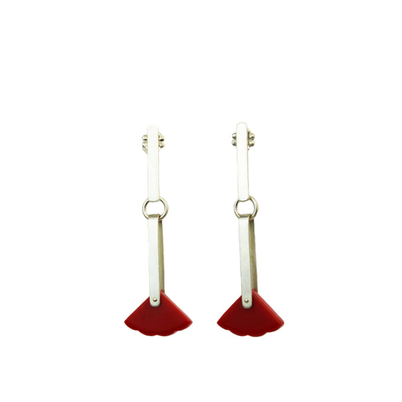 Red Triangle Post Earrings
