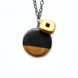 Black Porcelain Charm Necklace