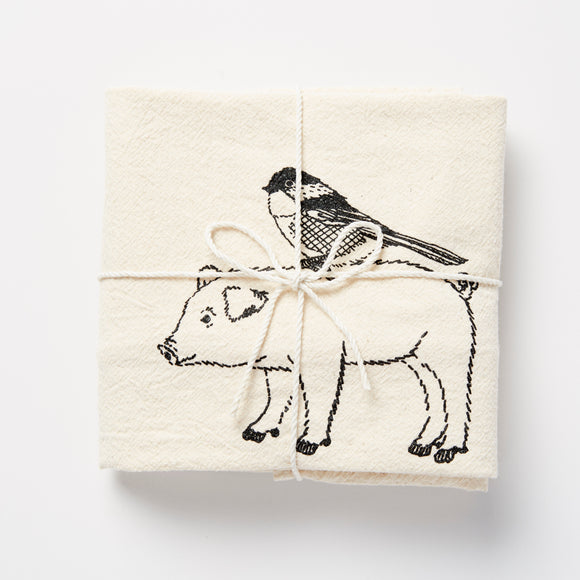 Pig & Bird Towel