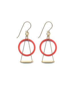 Red Circle Prism Earrings