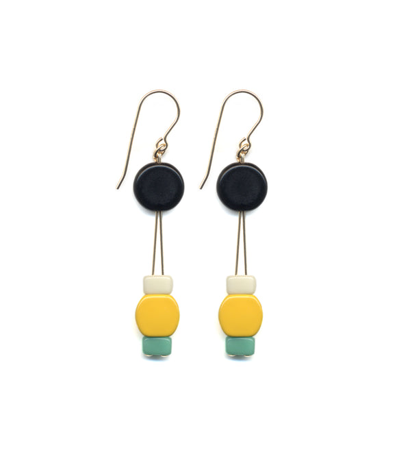 Yellow & Teal Earrings