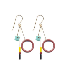 Teal Square Earrings