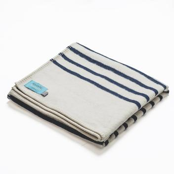 Navy Stripe Cotton Blanket