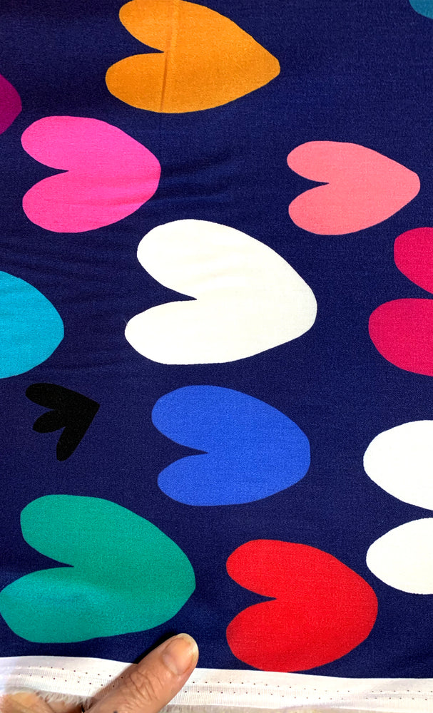 Load image into Gallery viewer, Hearts (navy) 100% cotton satin per metre