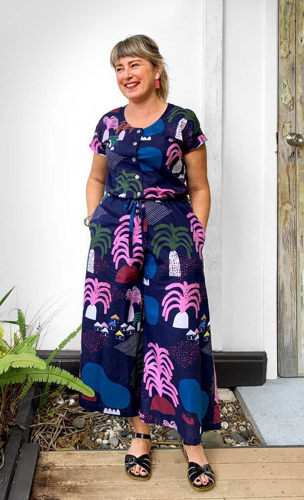 Palm Valley 100% cotton jumpsuit (Navy)