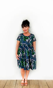 (ALL SIZES RE-STOCKED)Coral Cacti 100% Cotton Pleated Dress (green water navy)