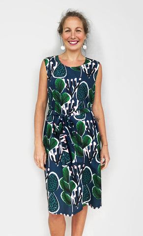 (ALL SIZES RE-STOCKED) Coral Cacti 100% cotton dress with tie (green water navy)