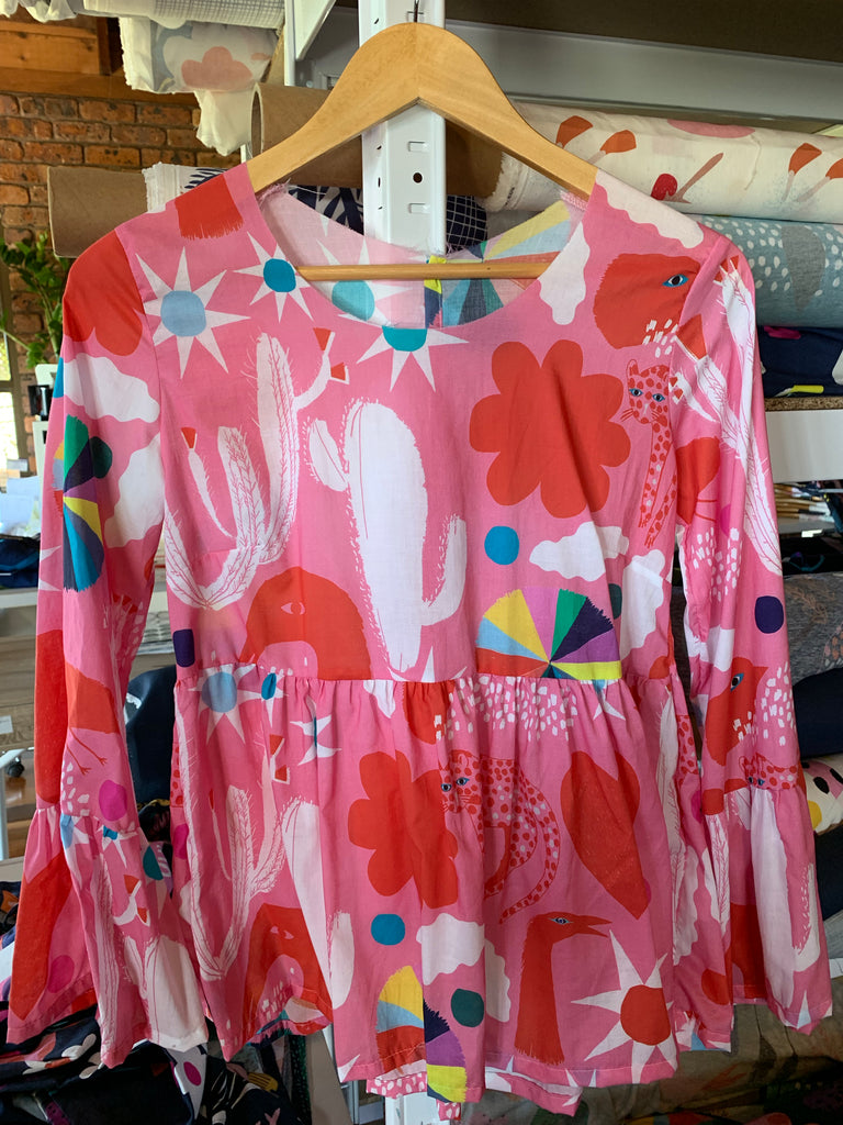 Pink Spells pleated 100% cotton top UNFINISHED TOP (BINDING) a sewer's dream.....