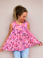 Dusty Pink Diamond pleated 100% cotton top